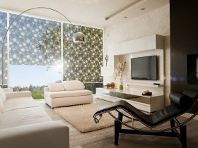Roller blind with printed sun protection film design Goa