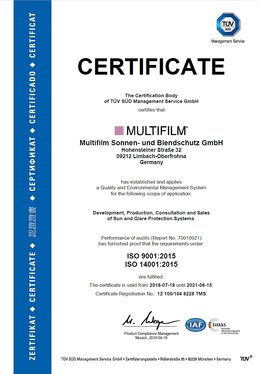 Certificate about quality management (acc. to ISO 9001: 2015) and environmental management system (acc. to ISO 14001: 2015)