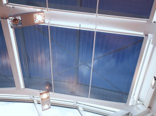 Electrical film roller blinds for horizontal roof windows