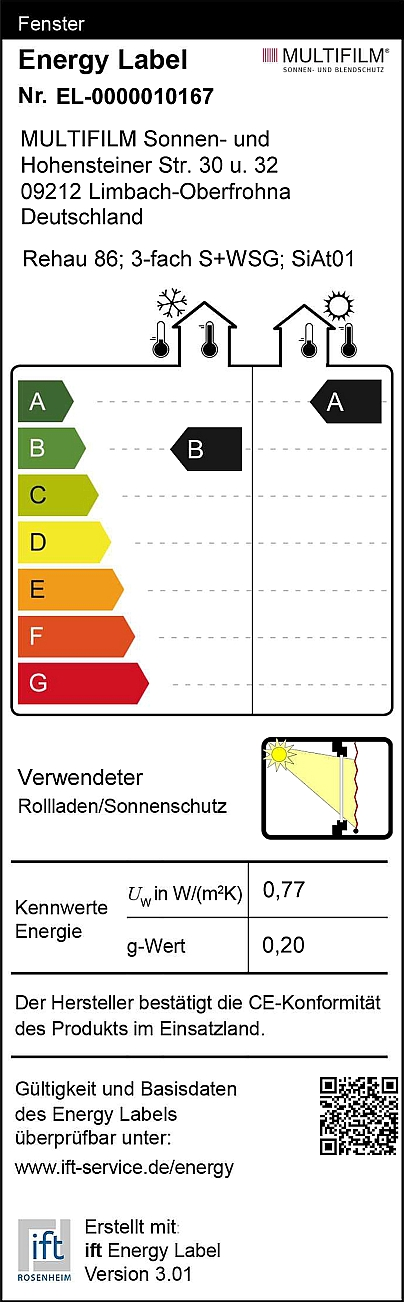 Energy label for film roller blinds on triple sun and insulation glazings