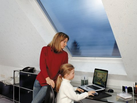 Roller blind for Velux windows for glare and heat protection